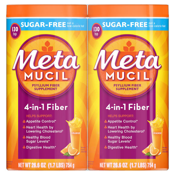 Metamucil Sugar Free Orange Fiber Supplement, Smooth Powder (260 doses)