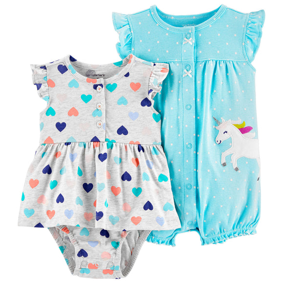Carter's Heart Jersey Sunsuit and Unicorn Snap-Up Romper