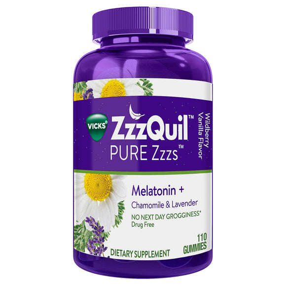 Vicks ZzzQuil PURE Zzzs Melatonin Natural Flavor Sleep Aid Gummies, 1 mg per gummy (110 ct.)