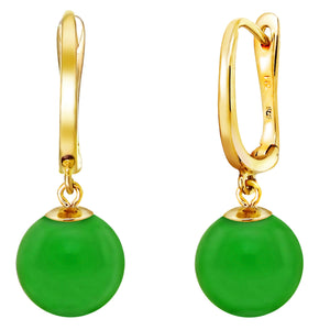 8 mm Round Green Jade Dangle Earrings