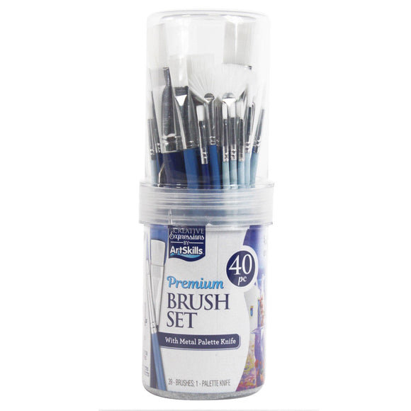ArtSkills Premium 40 Piece Brush Set Includes Metal Palette Knife