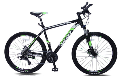 Mountain bike 27.5 wheels 20 inch frame black & green 24 shimano gears hydraulic lock out forks