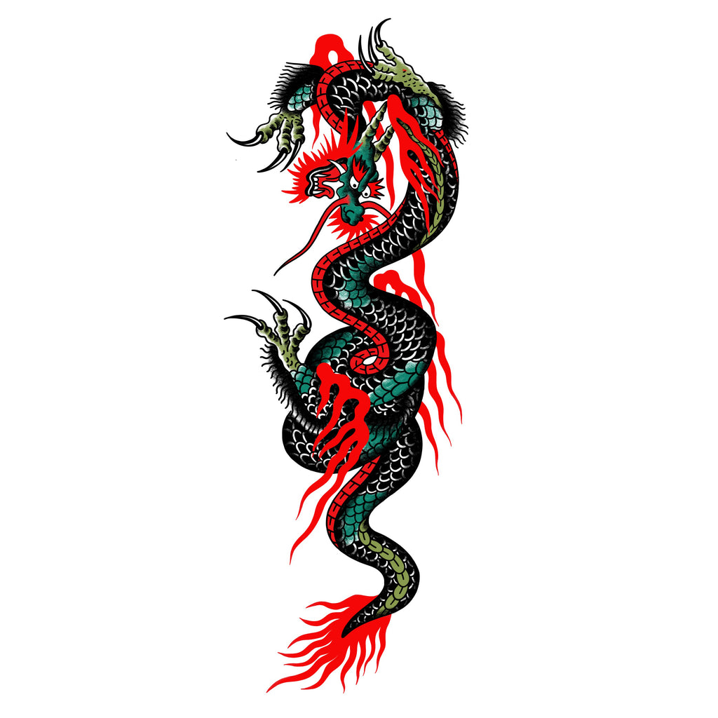 Idle Hand Huge Dragon Temporary Tattoos