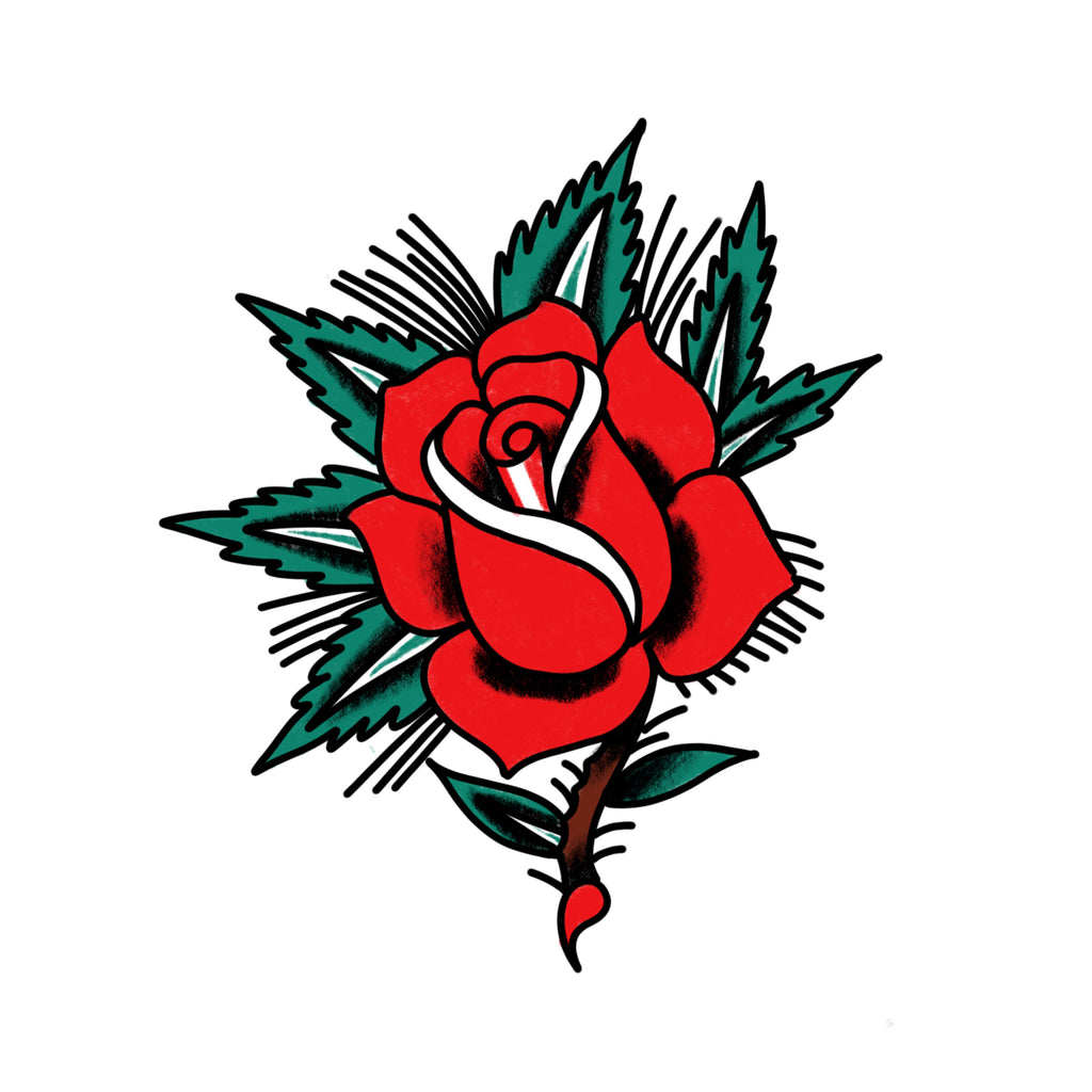 Idle Hand Rose Temporary Tattoos