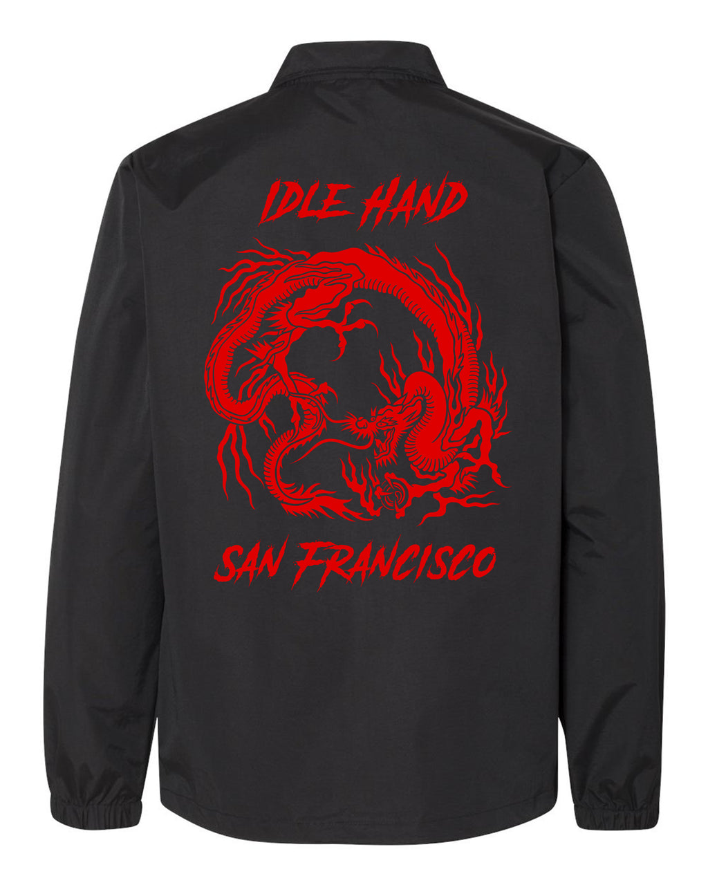 Back of Idle Hand Coaches jacket with Red Dragon design and the words Idle Hand at the top, San Francisco at the bottom.