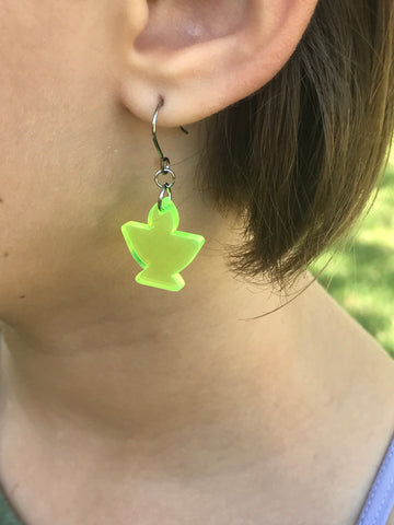 Neon Yellow Acrylic Chalice Earrings