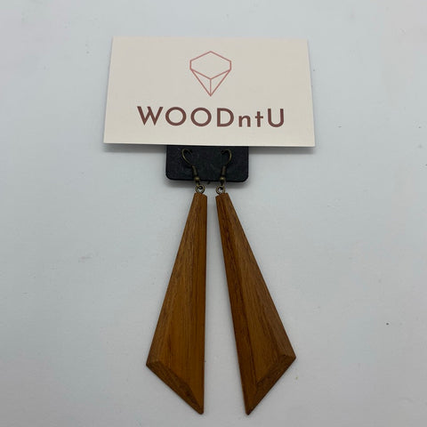 Long Drop Teak Earrings