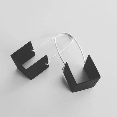 Oxidized Boxy Earrings
