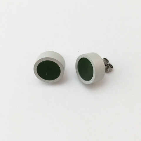 Stud Earrings - Greenstone