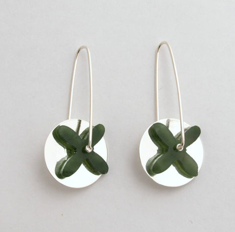 Tapa Silver Disc Earrings - Greenstone