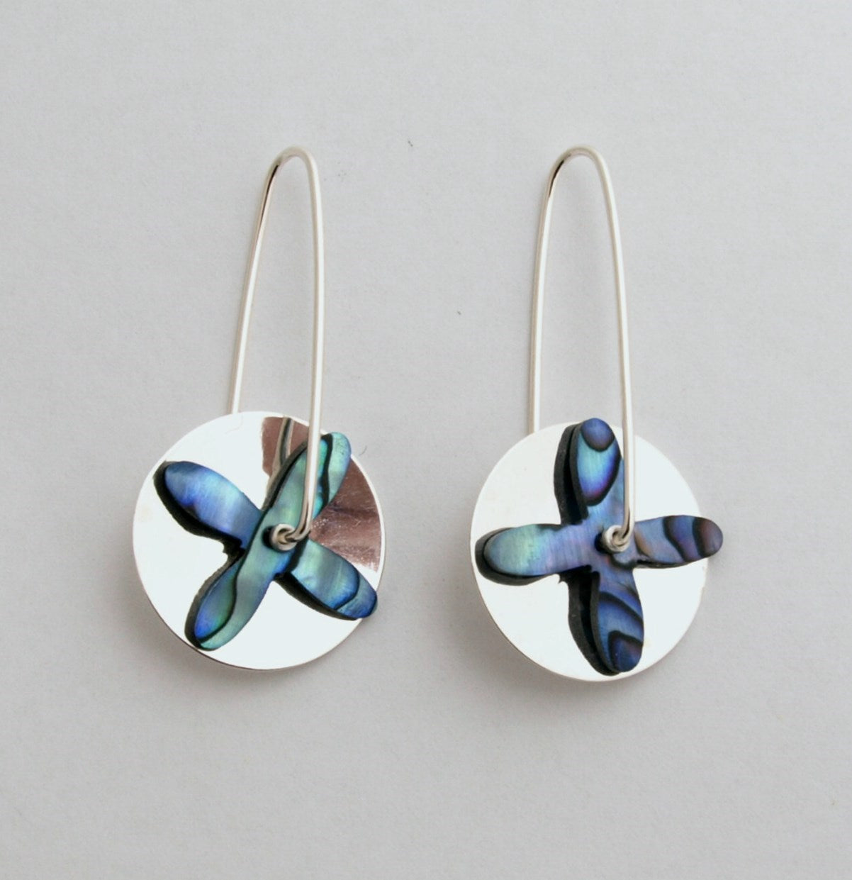 Tapa Silver Disc Earrings - Paua Shell