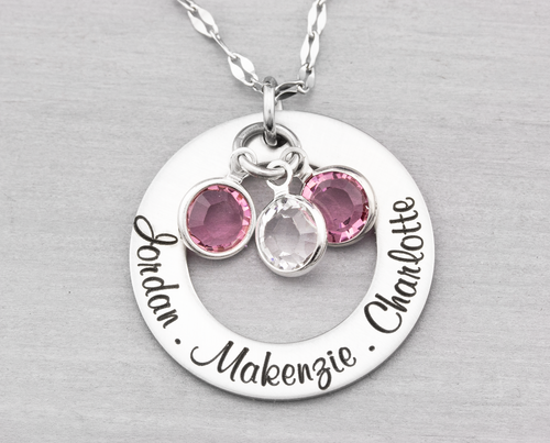Personalized Washer Name Necklace with Birthstones