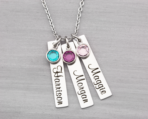 Personalized Name Tags with Birthstones