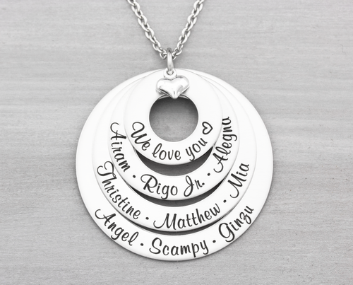 Four Layer Family Name Necklace