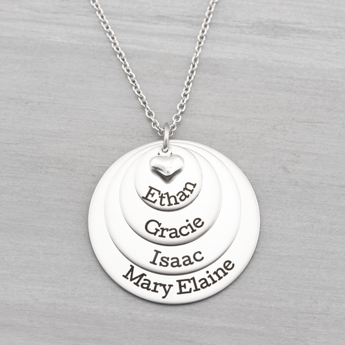 Four Layer Name Disc Necklace with Heart