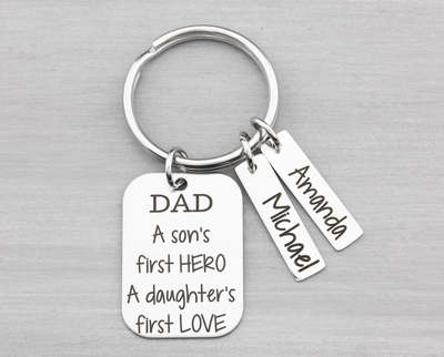 A Son's First Hero Daughter's First Love Key Chain