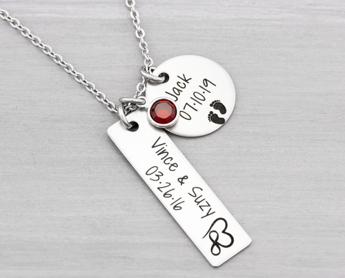 Personalized Mothers Jewelry Couple and Kids Necklace