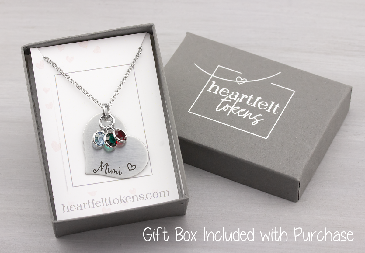 Birthstone Washer Name Necklace - Heartfelt Tokens
