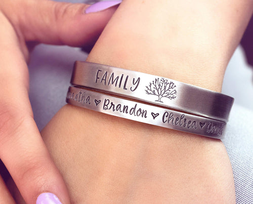 Personalized Hand Stamped Cuff Bracelet - Family Tree Name Bracelet - Mothers Bracelet - Gift for Mom