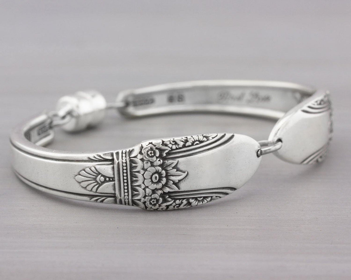 Silverware Bracelet - Spoon Jewelry - First Love Silverware Bracelet - First Love 1937 - Christmas  Gift for Her