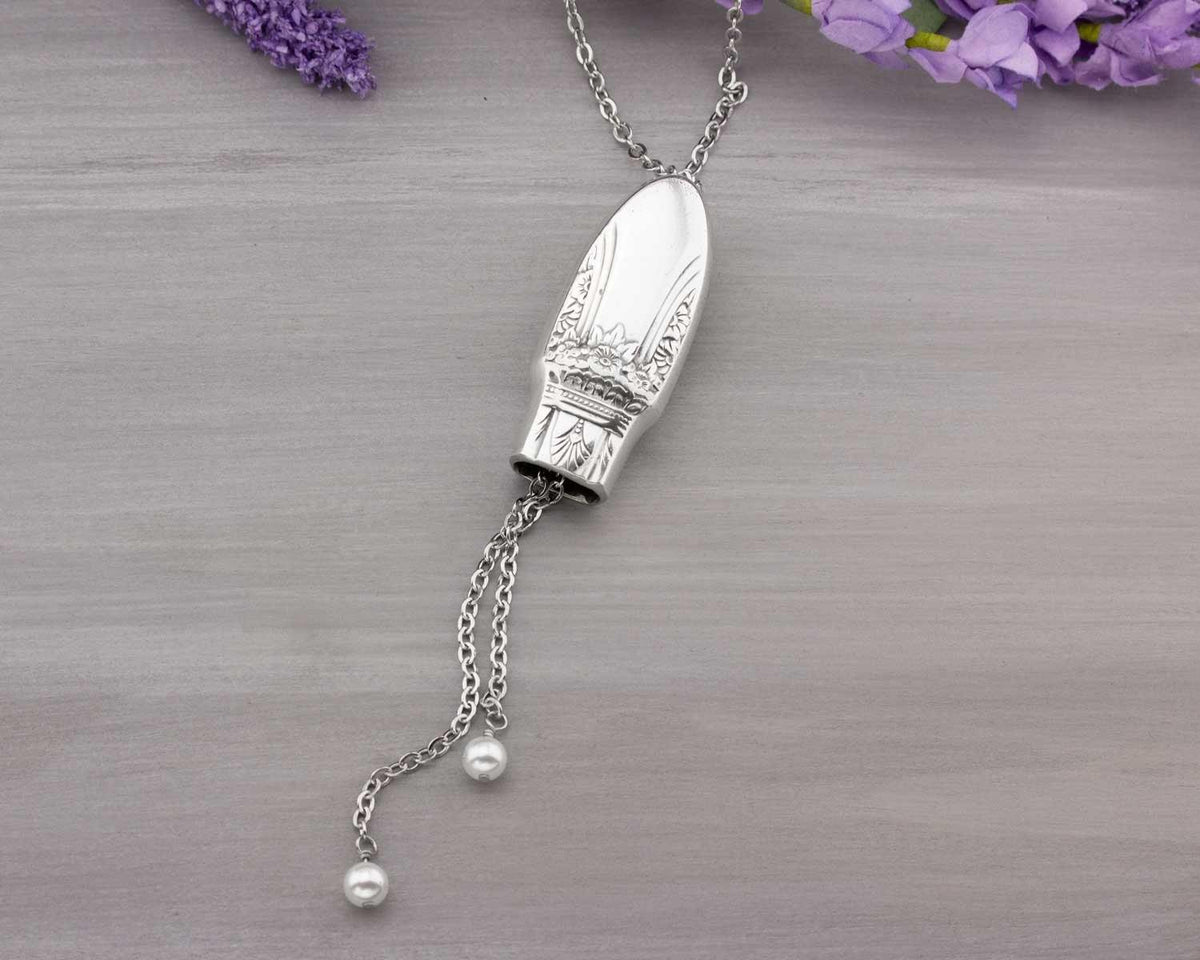 Silverware Adjustable Slider Necklace First Love 1937 Spoon Jewelry Gift For Her