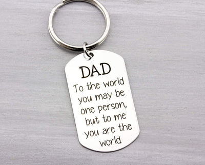 Personalized Key Chain - Custom Key Chain for Dad - Fathers Day Gift - Dog Tag Key Chain Gift for Him - Personalized Gift Idea