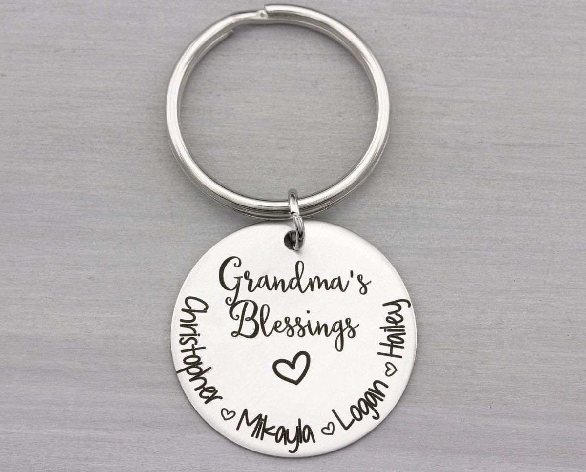 Personalized Key Chain for Grandma - Custom Keychain Gift - Grandmas Blessings Key Chain - Gift for Her - Christmas Gift
