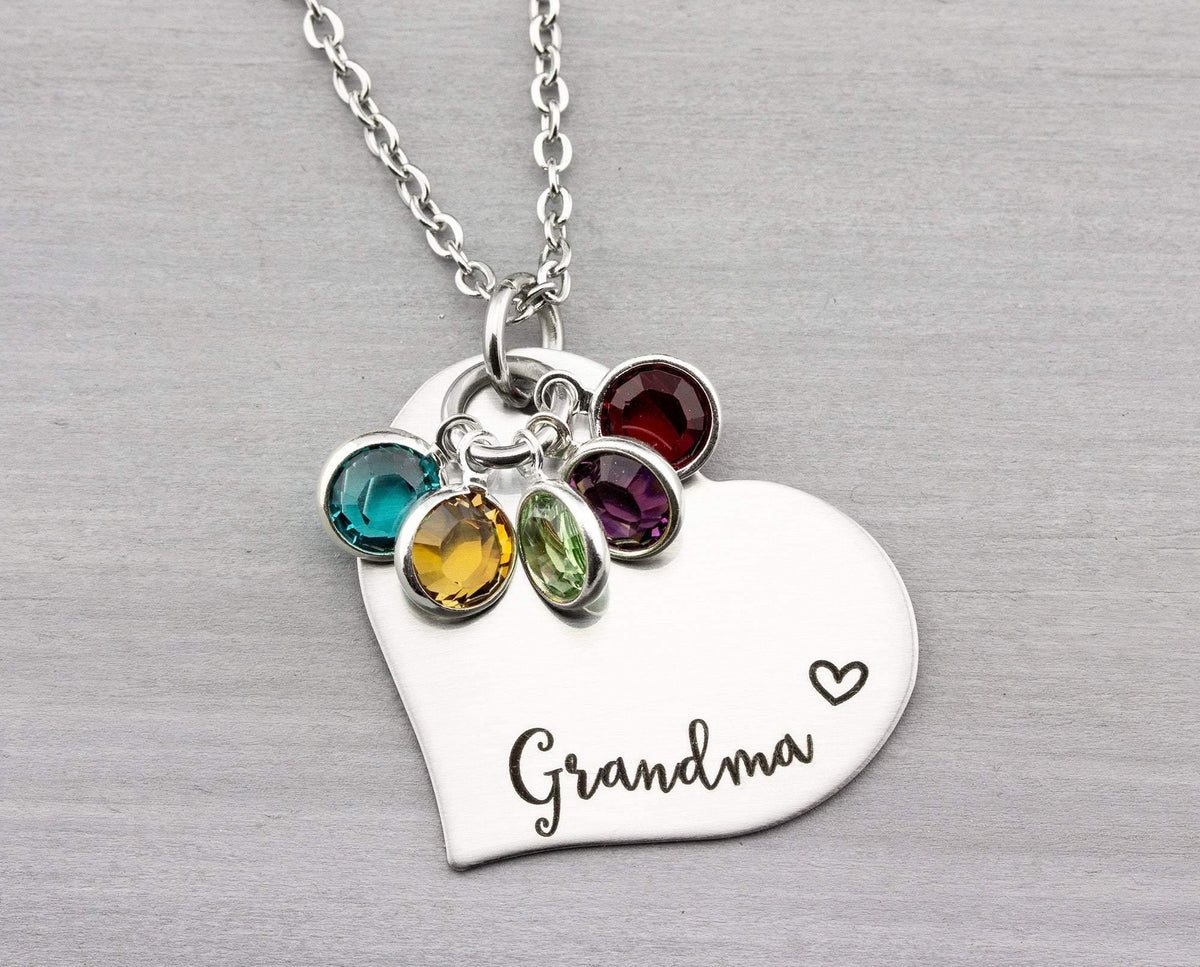 Personalized Grandma Necklace - Personalized Jewelry - Personalized Necklace with Birthstones - Birthstone Heart Necklace - Christmas  Gift