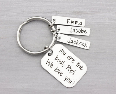 Personalized Key Chain for Him - Grandpa Gift Idea for Christmas - Custom Keychain Gift
