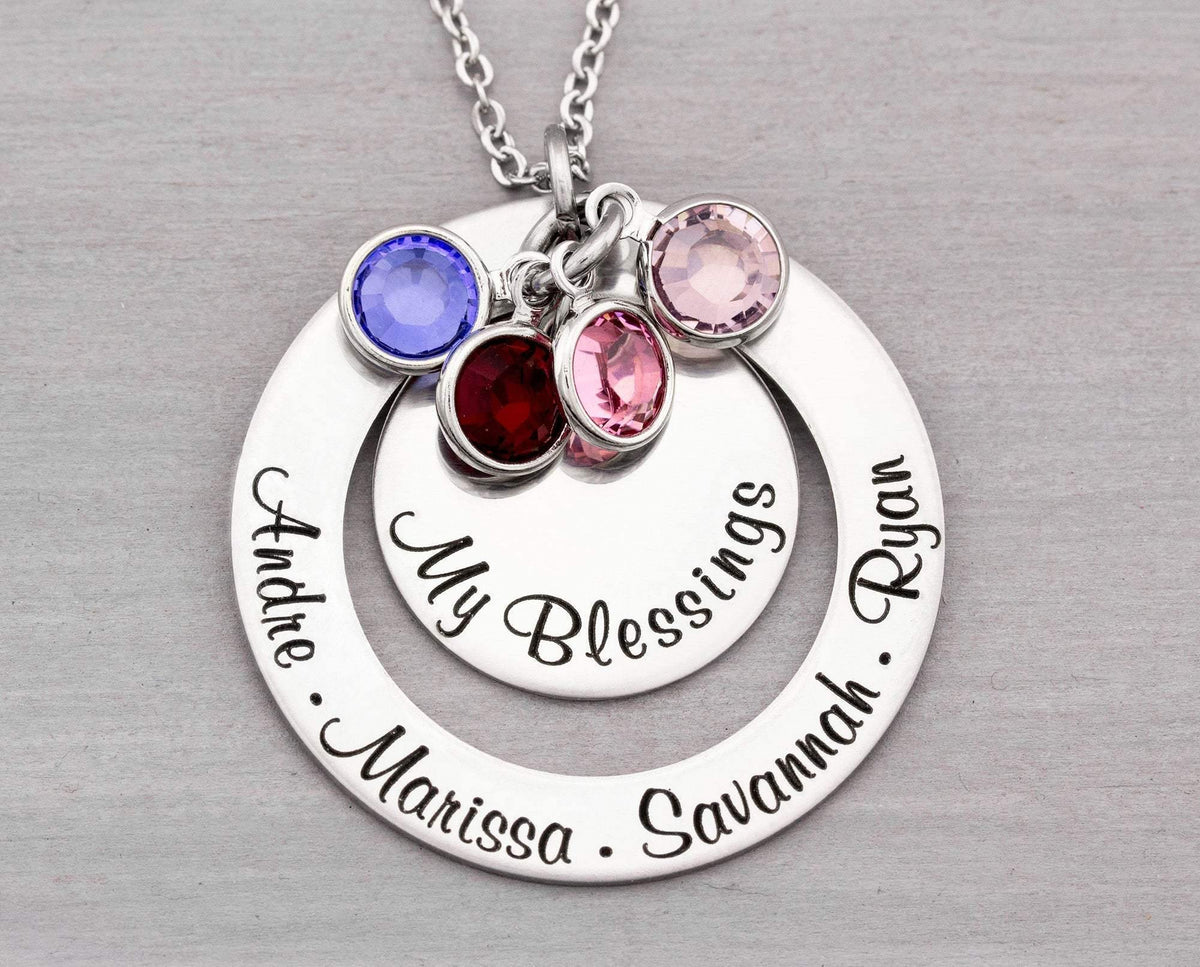 Personalized Mom Necklace - Personalized Jewelry - Grandmother Jewelry - Christmas  Gift for Her - Hand Stamped Necklace Gift for Grandma