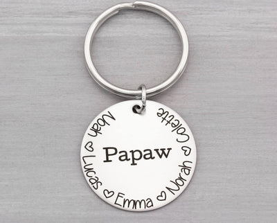 Personalized Key Chain - Dad Key Chain - Keychain for Dad - Gift for Him - Grandpa Keychain - Custom Keychain with Kids Names