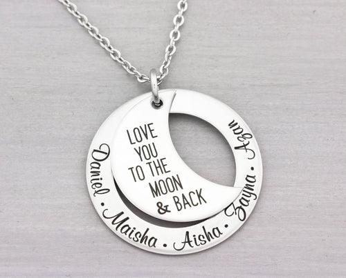 Personalized Jewelry - Mom Necklace - Hand Stamped Mothers Necklace - Personalized Custom Gift - love you to the moon & back - Mom Gift