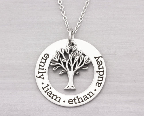 Personalized Jewelry - Personalized Necklace with Tree - Mom Gift - Family Tree Necklace - Family Tree Gift - Personalized Gift for Her