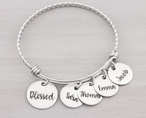 Personalized Bangle Bracelet - Custom Jewelry for Her - Personalized Name Bracelet for Mom - Blessed Bracelet Gift for Her