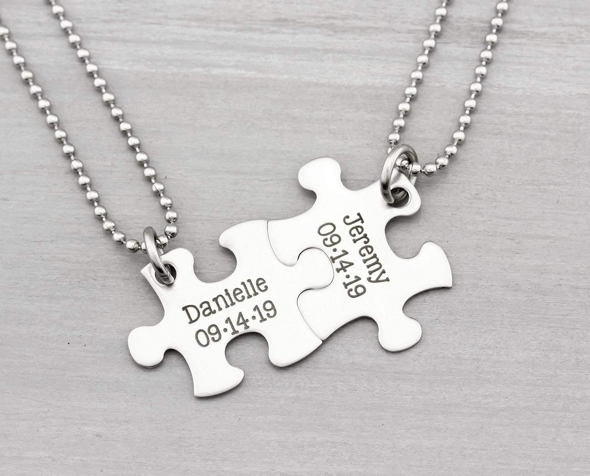 Personalized Puzzle Necklace - His and Her Puzzle Piece Necklace Set - Anniversary Gift - Wedding Gift - Puzzle Keychain Gift for Couples