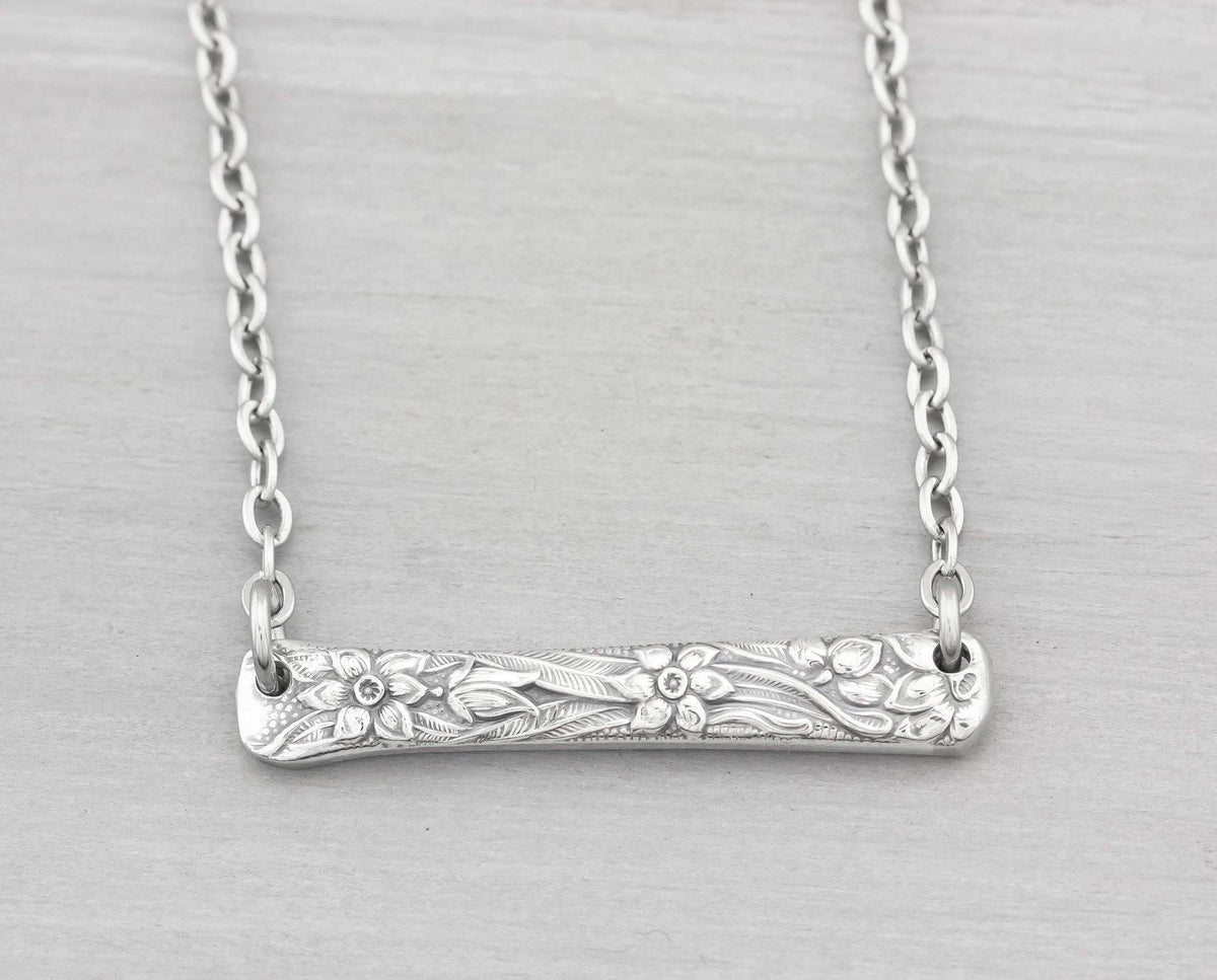 Silverware Jewelry - Narcissus Spoon Necklace Gift - Bar Necklace - Pendant Necklace