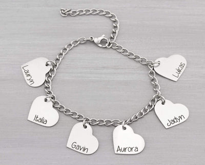 Personalized Heart Bangle Bracelet Gift for Mom - Kids Name Bracelet - Heart Charm Bracelet Personalized Gift - Grandma Christmas Gifts