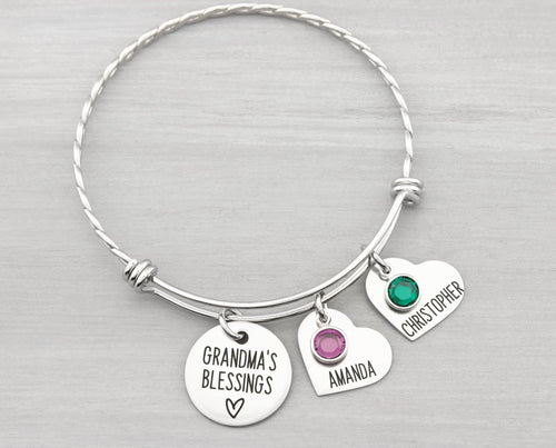Personalized Bangle Bracelet Gift for Grandma - Kids Name Bracelet with Birthstones - Charm Bracelet with Names - Personalized Gift