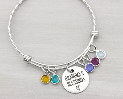 Grandmas Blessings Birthstone Bangle Bracelet - Personalized Jewelry for Grandma - Personalized Gifts for Mom - Birthstone Charm Bracelet