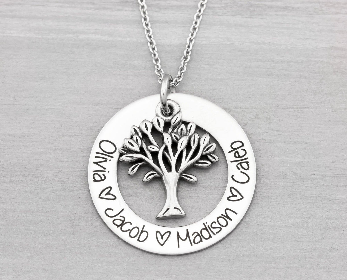 Kids Name Necklace, Tree of Life Pendant, Christmas Gift for Grandma,
