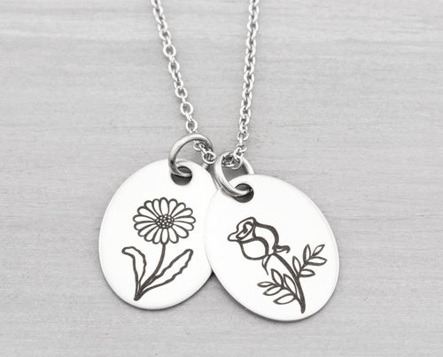 Birth Month Flower Necklace Gift for Mom - Personalized Flower Charm Necklace - Birthday Gift - Mothers Necklace Christmas Gift