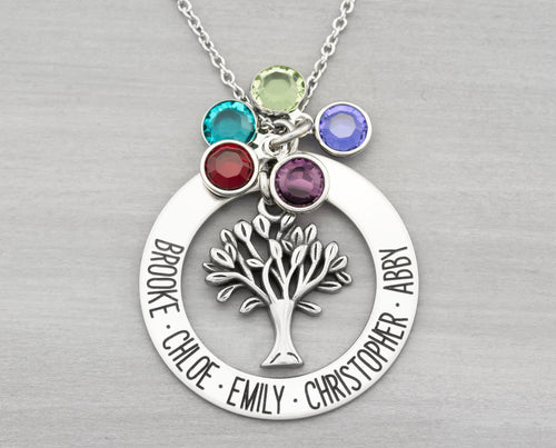 Personalized Family Tree Name Necklace - Birthstone Necklace Grandma Gift - Family Necklace Personalized Gift for Mom - Christmas Gifts