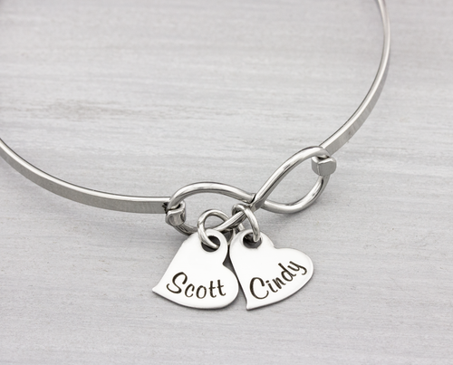 Personalized Infinity Bangle Bracelet with Name Hearts - Heartfelt Tokens