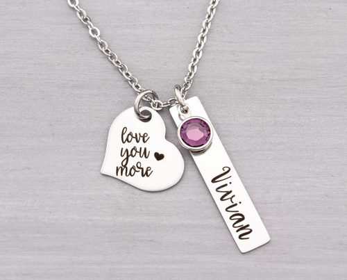 Personalized Mothers Necklace Love You More