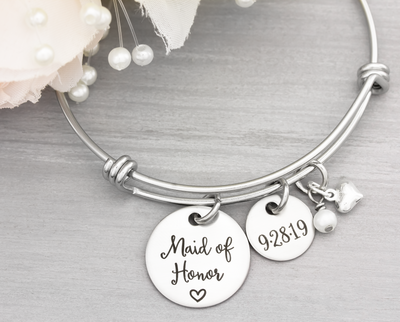 Maid of Honor Bangle Bracelet - Heartfelt Tokens
