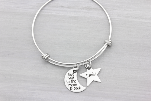 Personalized Bangle Bracelet Love You To The Moon And Back - Heartfelt Tokens