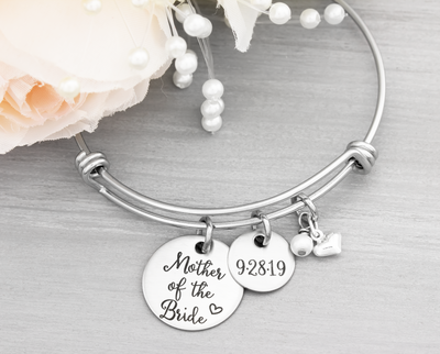 Mother of the Bride Bangle Bracelet - Heartfelt Tokens