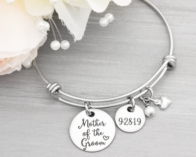 Mother of the Groom Bangle Bracelet - Heartfelt Tokens