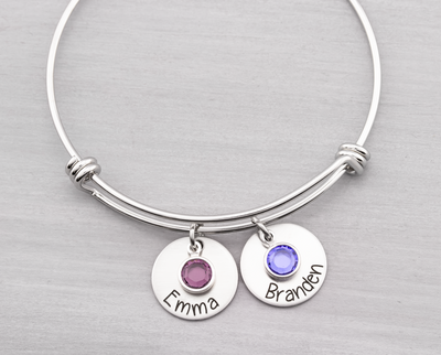 Bangle Bracelet with Custom Names and Birthstones