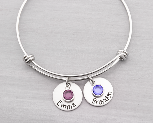 Bangle Bracelet with Custom Names and Birthstones - Heartfelt Tokens